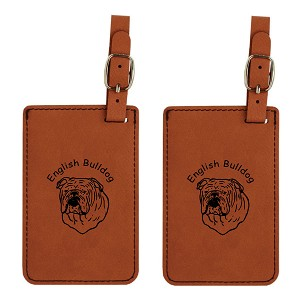 English Bulldog Head Luggage Tag 2 Pack L3131