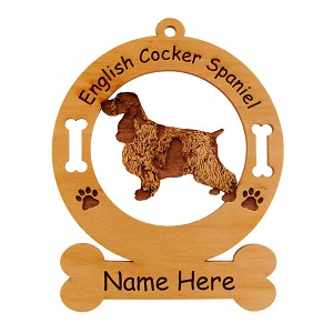 3149 English Cocker Spaniel Standing #2 Ornament Personalized with Your Dog's Name