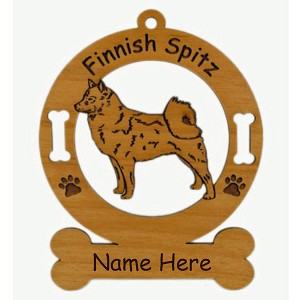3185 Finnish Spitz Standing Ornament Personalized with Your Dog's Name