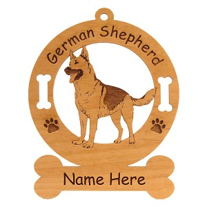 3212 German Shepherd Standing Angled Ornament Personalized with Your Dog's Name