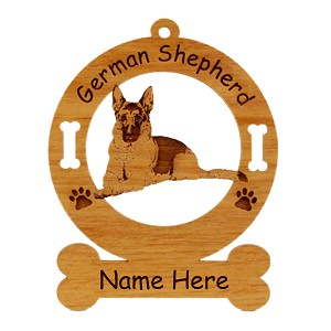 3214 German Shepherd Laying Down Ornament Personalized with Your Dog's Name