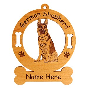 3217 German Shepherd Sitting #4 Ornament Personalized with Your Dog's Name