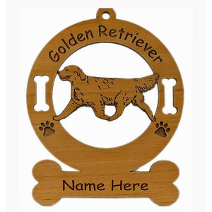 3248 Golden  Retriever Gaiting Ornament Personalized with Your Dog's Name