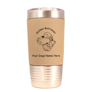 3249 Golden Retriever Head with Duck 20 oz Polar Camel Tumbler with Lid Personalized with Your Dog's Name