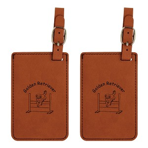 Golden Retriever Jumping Luggage Tag 2 Pack L3259