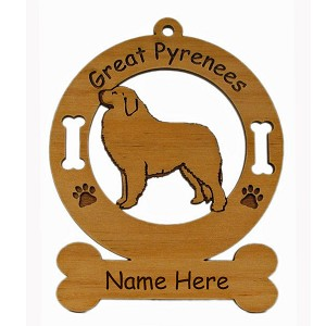 3302 Great Pyrenees Standing Ornament Personalized with Your Dog's Name