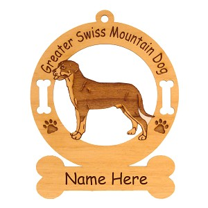 3312 Greater Swiss Mountain Dog Standing 3 Ornament Personalized with Your Dog's Name
