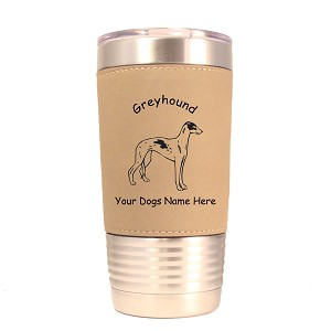 3319 Greyhound Standing #1 20 oz Polar Camel Tumbler with Lid Personalized with Your Dog's Name