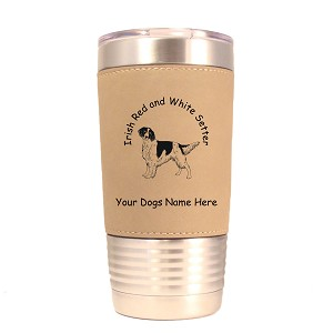 3375 Irish Red and White Setter Standing #1 20 oz Polar Camel Tumbler with Lid Personalized with Your Dog's Name