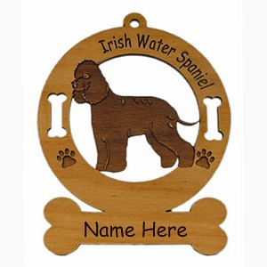3398 Irish Water Spaniel Standing Ornament Personalized with Your Dog's Name