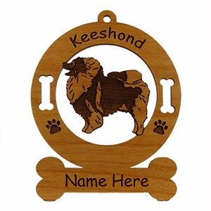 3436 Keeshond Standing #2 Ornament Personalized with Your Dog's Name