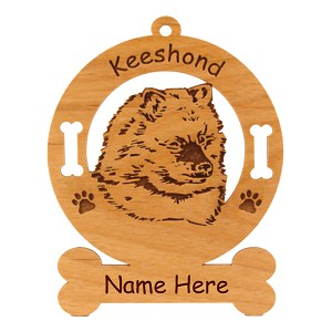 3437 Keeshond Pup Head Ornament Personalized with Your Dog's Name