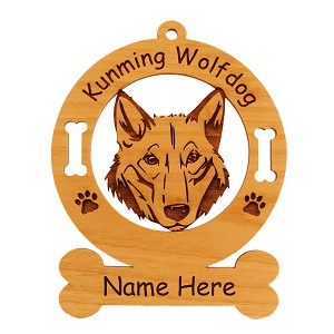 3466 Kunming Wolfdog Head Ornament Personalized with Your Dog's Name