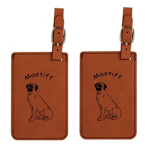 Mastiff Sitting Luggage Tag 2 Pack L3547