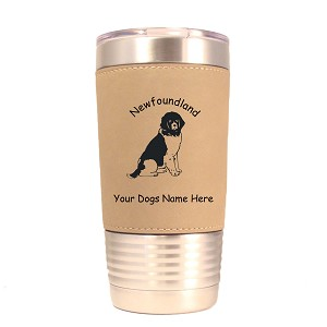 3597 Newfoundland Sitting #1 20 oz Polar Camel Tumbler with Lid Personalized with Your Dog's Name