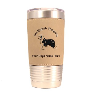 3636 Old English Sheepdog Standing #1 20 oz Polar Camel Tumbler with Lid Personalized with Your Dog's Name