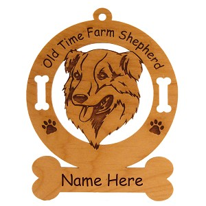 3640 Old Time Farm Shepherd Head Ornament Personalized with Your Dog's Name