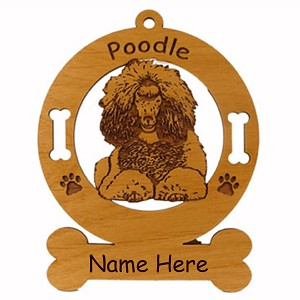 3750 Poodle Down Ornament Personalized with Your Dog's Name
