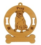 3758 Pug Sitting Ornament Personalized with Your Dog's Name