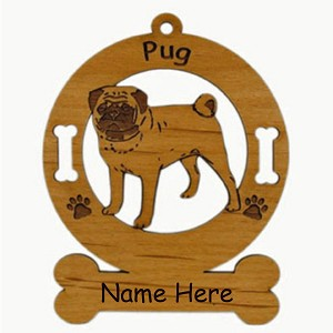 3759 Pug Standing Ornament Personalized with Your Dog's Name