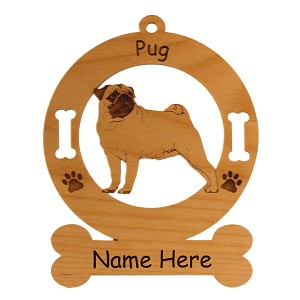 3761 Pug Standing #2 Ornament Personalized with Your Dog's Name