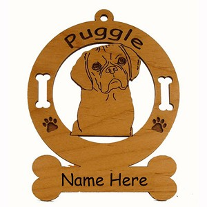 3763 Puggle Head Ornament Personalized with Your Dog's Name