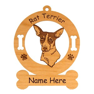 3802 Rat Terrier Head Ornament Personalized with Your Dog's Name