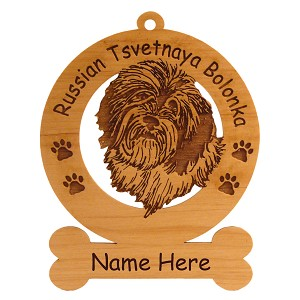 3842 Russian Tsvetnaya Bolonka Head Ornament Personalized with Your Dog's Name