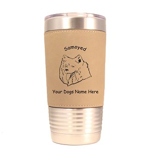 3854 Samoyed Head #1 20 oz Polar Camel Tumbler with Lid Personalized with Your Dog's Name