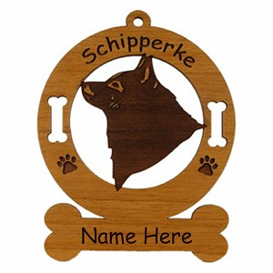 3873 Schipperke Head Ornament Personalized with Your Dog's Name