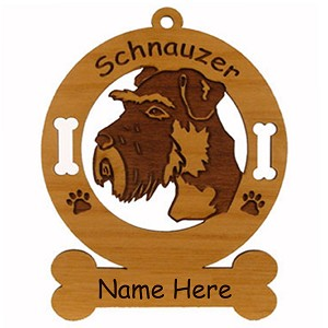 3885 Schnauzer Head Uncropped Ornament Personalized with Your Dog's Name