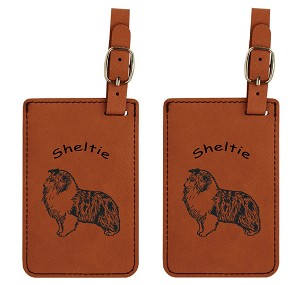 Sheltie Blue Merle Standing  Luggage Tag 2 Pack L3932