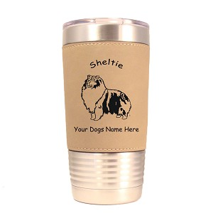 3933 Sheltie Blue Merle Standing #2 20 oz Polar Camel Tumbler with Lid Personalized with Your Dog's Name