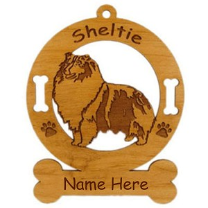 3933 Sheltie Blue Merle Standing #2 Ornament Personalized with Your Dog's Name