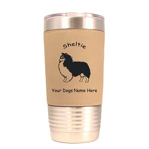 3937 Sheltie Tricolor Standing #1 20 oz Polar Camel Tumbler with Lid Personalized with Your Dog's Name