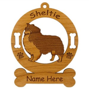 3937 Sheltie Tricolor Standing Ornament Personalized with Your Dog's Name