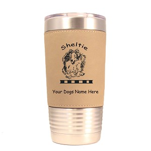 3938 Sheltie Jumping #1 20 oz Polar Camel Tumbler with Lid Personalized with Your Dog's Name