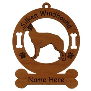 3982 Silken Windhound Standing Ornament Personalized with Your Dog's Name