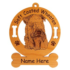 3999 Soft Coated Wheaten Head #2 Ornament Personalized with Your Dog's Name
