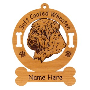 4003 Soft Coated Wheaten Head Ornament Personalized with Your Dog's Name