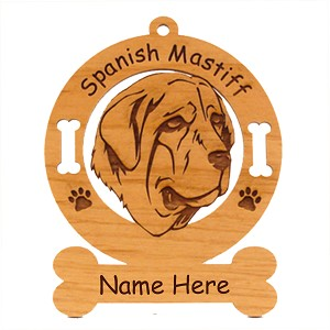 4005 Spanish Mastiff Head Ornament Personalized with Your Dog's Name