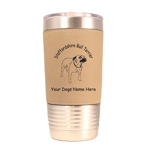 4132 Staffordshire Bull Terrier Standing #1 20 oz Polar Camel Tumbler with Lid Personalized with Your Dog's Name