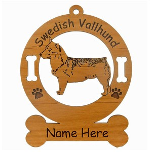 4160 Swedish Vallhund Standing #2 Ornament Personalized with Your Dog's Name