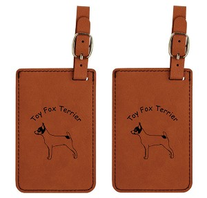 Toy Fox Terier Standing  Luggage Tag 2 Pack L4182