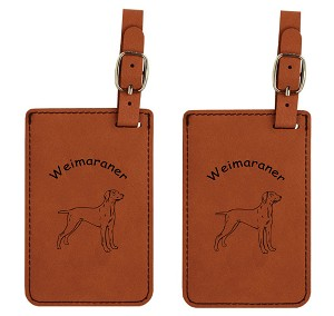Weimaraner Standing Luggage Tag 2 Pack L4201