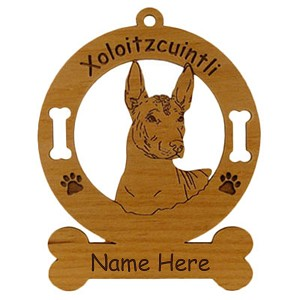 4248 Xoloitzcuintli Head Ornament Personalized with Your Dog's Name