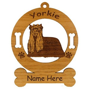 4253 Yorkie Standing Ornament Personalized with Your Dog's Name