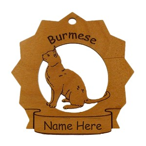7116 Burmese Cat Ornament Personalized with Your Cat's Name