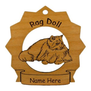 7326 Rag Doll Cat Standing Ornament Personalized with Your Cat's Name