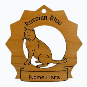 7352 Russian Blue Cat Sitting Ornament Personalized with Your Cat's Name